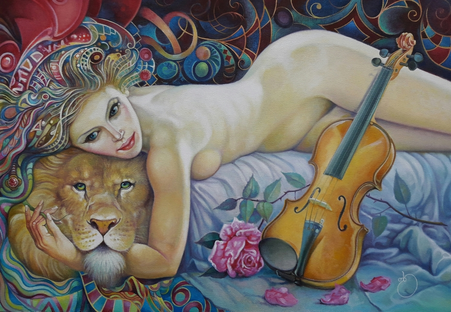 Lion, a woman and a violin