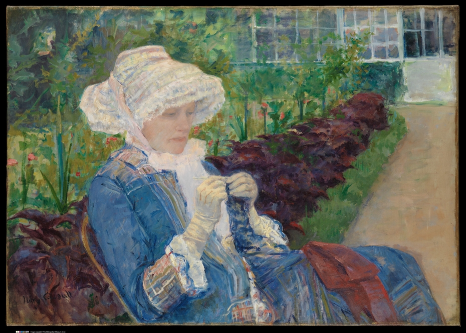 Lydia Crocheting in the Garden at Marly