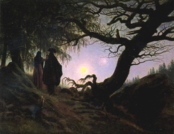 Man and Woman contemplating the moon