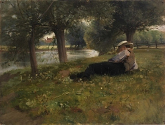 Man Reclining beside a Stream