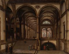 Palacio con galería y espaciosa escalinata de carácter grecorromano