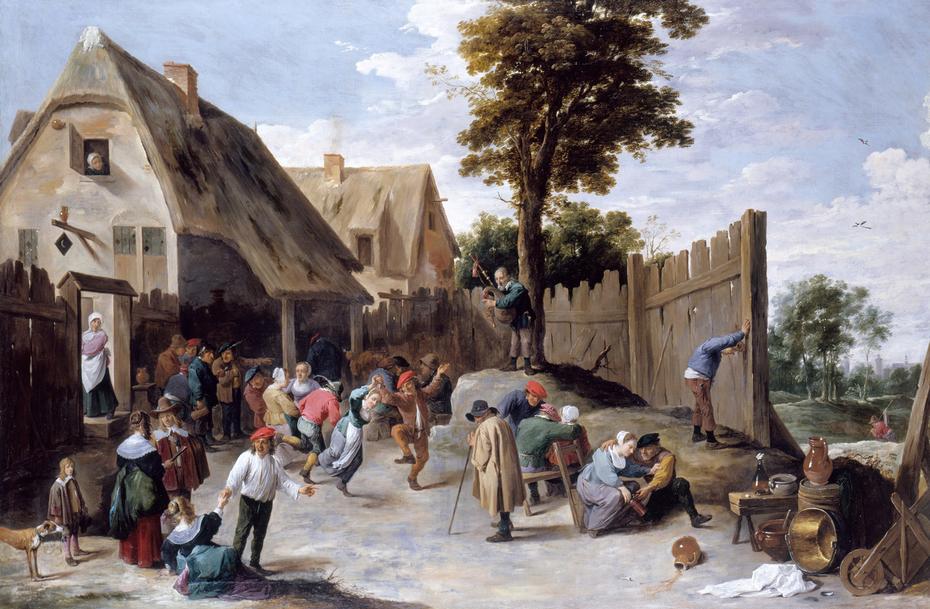 Peasants dancing outside a Tavern