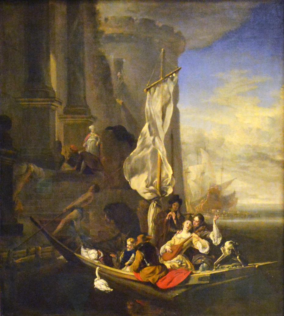 Personnages de fantaisie dans une barque