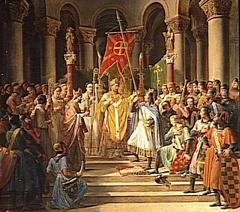 Philippe Auguste prend l'oriflamme à Saint-Denis, 24 juin 1190