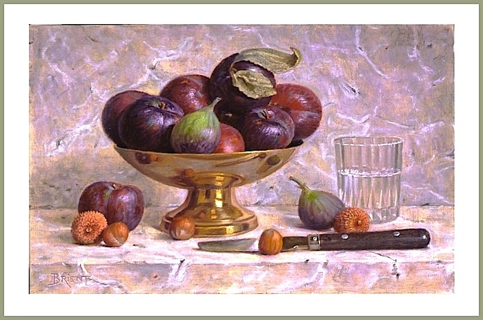 Plums and fig in brass plate, nuts, knife, a glass of water