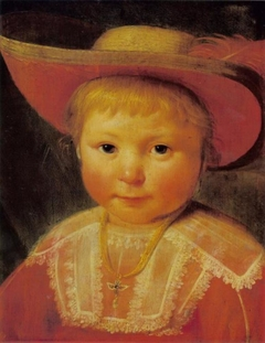 Portrait of a Child with a Red Lined Straw Hat