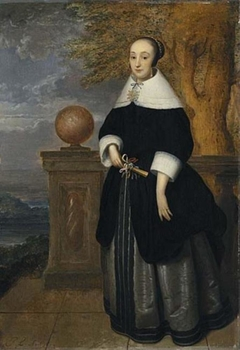 Portrait of a Young Woman Standing at a Parapet
