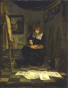 Portrait of an Artist in His Studio (Willem van de Velde?)