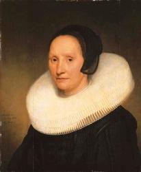 Portrait of Johanna van Diemen, aged 57, bust-length, in a cartwheel ruff