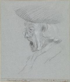 Portret van Michiel Elgersma, met bril en mond wijd open.