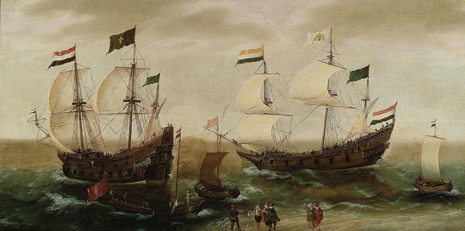 Seascape with ships along the coast