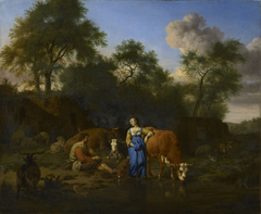 Shepherd and Shepherdess with Cattle by a Stream