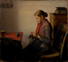 Skagen girl, Maren Sofie, knitting