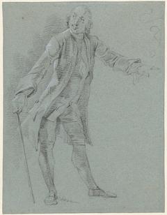 Staande heer met wandelstok, de linkerarm naar voren gestrekt