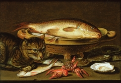 Still life of fish, oysters and crayfish with a cat
