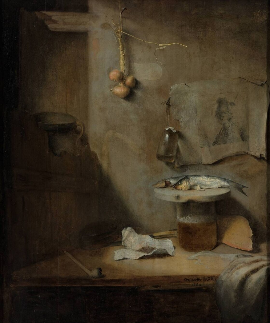 Still Life with Beer, Herring and Pipe