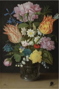 Still Life with Tulips, Roses, Narcissus and other Flowers in a Beaker
