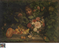 Stilleven met bloemen en fruit