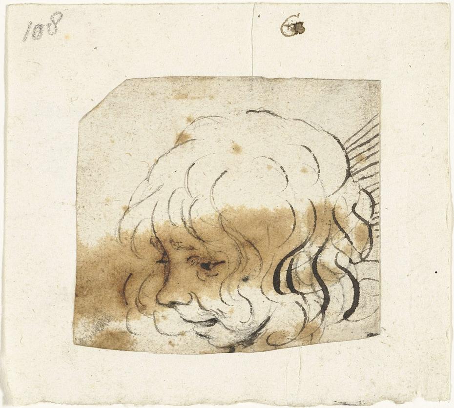 Studie van een lachende Moses ter Borch, in profiel naar links