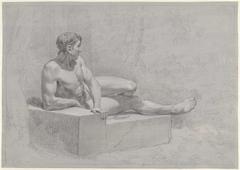 Studie van een liggend mannelijk naakt, op een stenen bank