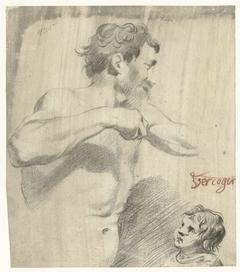 Studie van een naakte man en een jongetje