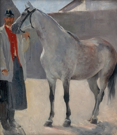 Study of a Grey Horse with a Coachman