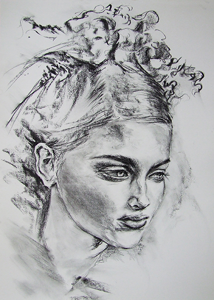 Study of head in Charcoal