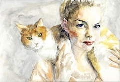 Swedish Girl With Cat