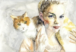 Swedish Girl With Cat