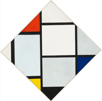 Tableau No. IV; Lozenge Composition with Red, Gray, Blue, Yellow, and Black