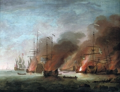 The burning of the French flagship Soleil Royal in Cherbourg Bay during the protracted battle of La Hogue, 22nd-24th May 1692