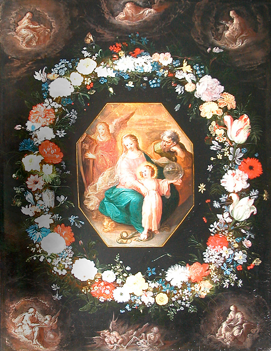 The Holy Family in a garland of flowers