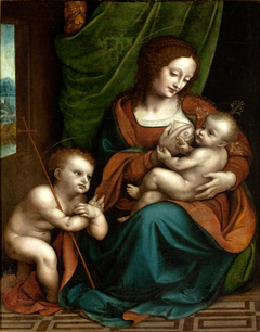 The Virgin Nursing the Child with Saint John the Baptist in Adoration attributed to Giampietrino