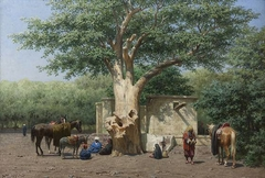 The well and sycamore in Ezbekieh Square, Cairo