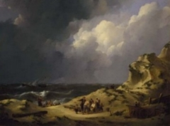 The wreckage of the three-masted Iphigenia at Zandvoort in 1816