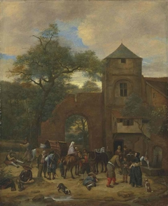 Travellers halting outside an inn