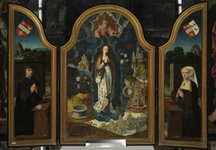 Triptych of Immaculate Conception, central section: Allegory of Immaculate Conception of Virgin Mary; left wing: Portrait of the founder, Mathias Laurin, Lord de Watervliet; right wing: Portrait of th
