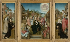 Triptych with Virgin and Child with Saints (center), male Donor with Saint Martin (left, inner wing), female Donor with Saint Cunera (right, inner wing), and the Annunciation (outer wings)