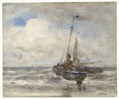 Twee vissersschepen bij het strand