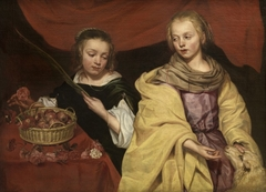 Two girls as Saints Agnes and Dorothea