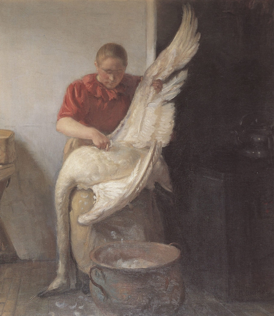 A Young Girl Plucking a Swan