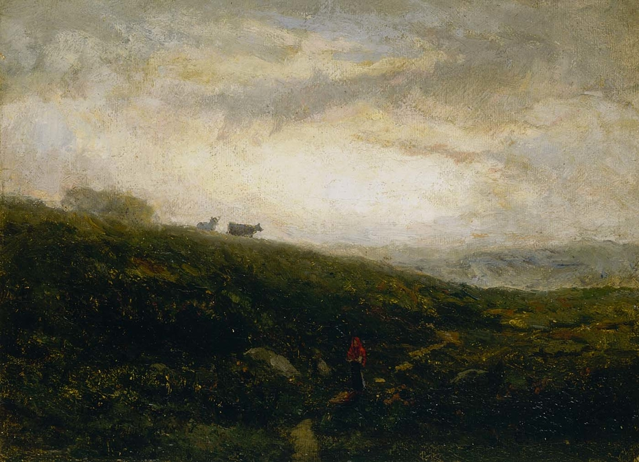 Untitled (cows descending hillside)