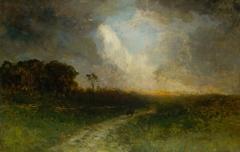 Untitled (landscape, man on horse)