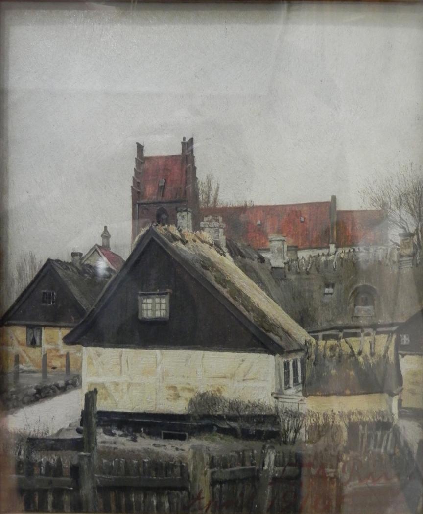 Stråtækte huse og kirke i St. Jørgensberg