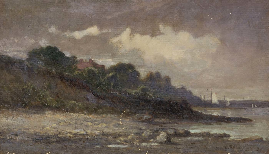 Untitled (shoreline with sailboats and roof)