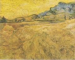 Weizenfeld mit Schnitter und Sonne