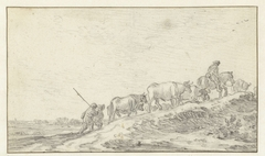 Veedrijvers en vee op een helling