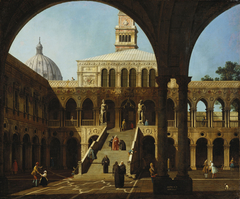Venice: Capriccio of the Courtyard of the Doges' Palace with the Scala dei Giganti