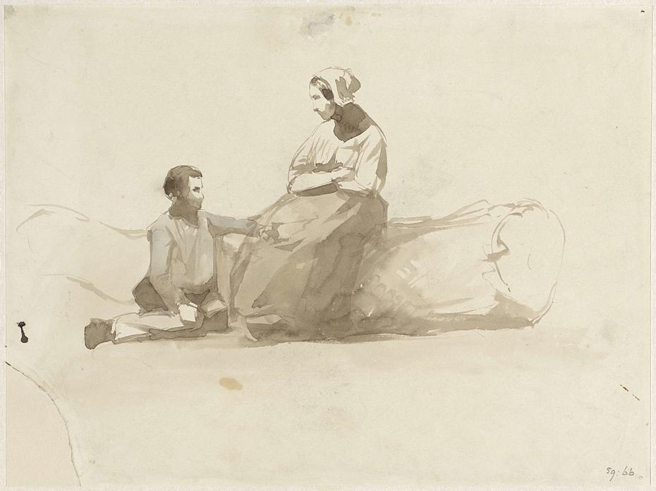 Vrouw op een boomstam en een jongen met een boek