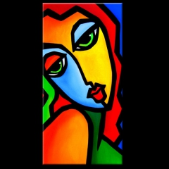 Wake Me Up - Original Abstract painting Modern pop Art large colorful woman by Fidostudio